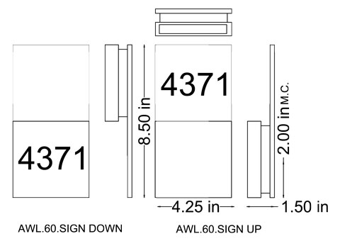 AWL.60.sign dimensional drawing